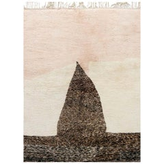 Modern Moroccan Beige, Brown & Pink Hand Knotted Wool Rug