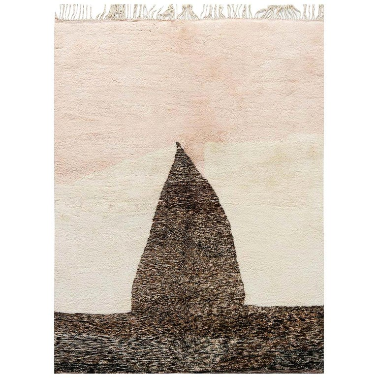 Modern Moroccan Beige, Brown & Pink Hand Knotted Wool Rug For Sale