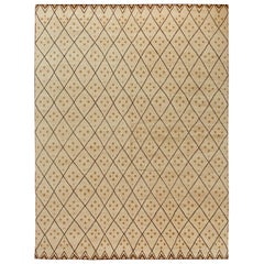 Modern Moroccan Beige Hand Knotted Wool Rug