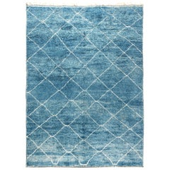 Modern Moroccan Beni Ourains, Shaggy Tribal Blue and White Hand Knotted Wool Rug