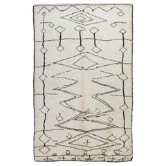 Modern Moroccan Berber Rug Made of Undyed Wool, Custom Options Available