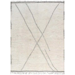 Modern Moroccan Black, Gray and Ivory Hand Knotted Wool Rug
