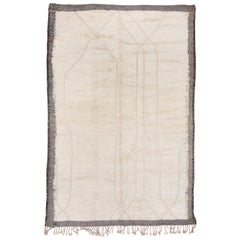 Modern Moroccan Carpet, High Low Ivory Field, Brown Kilim Borders