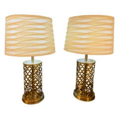 Modern Moroccan Gold Brass Table Lamp Handmade, Bottom and Upper Light, a Pair