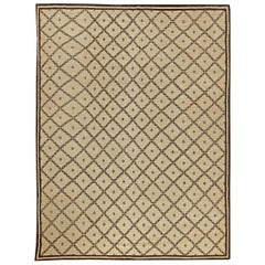 Modern Moroccan Handmade Wool Beige and Chocolate Brown Rug