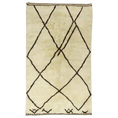 Modern Moroccan Ivory and Brown Rug