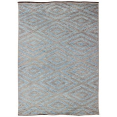 Modern Moroccan Piled Rug with Sky Blue and Gray