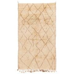 Modern Moroccan Beige Shag Handmade Wool Rug