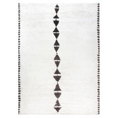 White and Black Modern Moroccan Rug