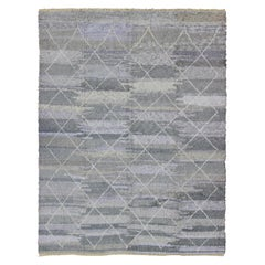 Modern Moroccan Rug with All-Over Lattice Design in Grey Tones