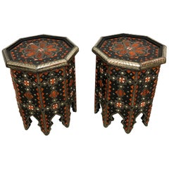 Modern Moroccan Side or End Table Ebonized Wood, White Brass & Bone Inlaid, Pair