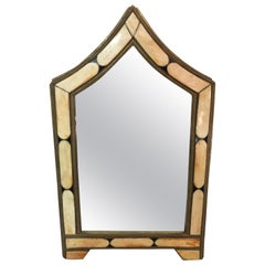 Modern Moroccan Small Wall or Vanity Mirror, Natural Camel Bone & Brass Inlay