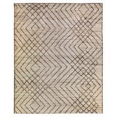 Modern Moroccan Style Beige and Brown Handmade Boho Pattern Wool Rug