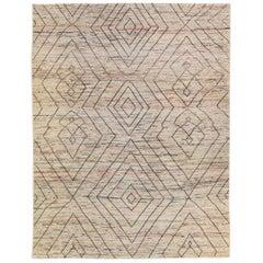 Modern Moroccan Style Beige Handmade Bohemian Pattern Wool Rug
