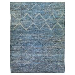 Modern Moroccan Style Blue Handmade Geometric Tribal Oversize Wool Rug