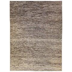 Modern Moroccan Style Brown Handmade Strie Pattern Wool Rug