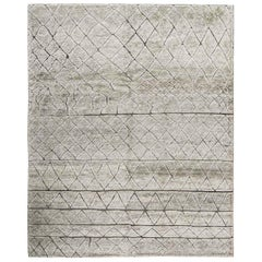 Modern Moroccan Style Gray Hand Knotted Wool Rug with Geometric Tribal Pattern