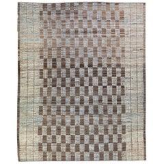 Modern Moroccan Style Handmade Brown Check Pattern Wool Rug