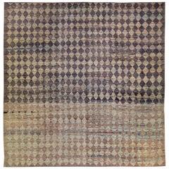 Modern Moroccan Style Handmade Diamond Check Pattern Brown Square Wool Rug
