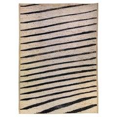Modern Moroccan Style Handmade Geometric Beige Oversize Wool Rug