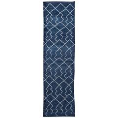 Modern Moroccan Style Handmade Navy-Blue Wool Runner