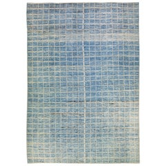 Modern Moroccan Style Handmade Seamless Square Pattern Oversize Wool Rug