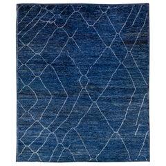 Modern Moroccan Style Handmade Tribal Blue Wool Rug