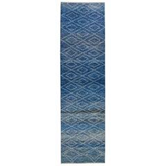 Modern Moroccan Style Handmade Tribal Blue Wool Runner