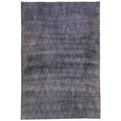 Modern Moroccan Style Handmade Tribal Gray Oversize Wool Rug