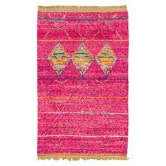 Modern Moroccan Style Pink Handmade Tribal Pattern Boho Wool Rug
