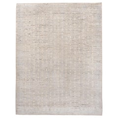 Modern Moroccan Style Rug, Linen and Baby Blue All-Over Field, Soft Medium Pile