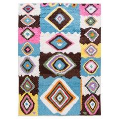 Modern Moroccan Style Shag Multicolor Wool Rug
