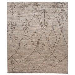 Modern Moroccan-Style Tribal Wool Rug