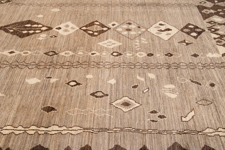 Modern Moroccan-Style Tribal Wool Rug For Sale 6