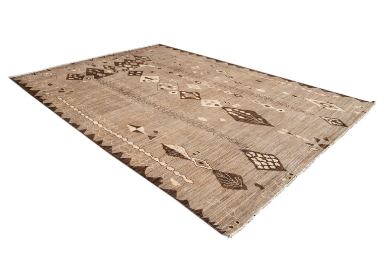 Modern Moroccan-Style Tribal Wool Rug For Sale 8