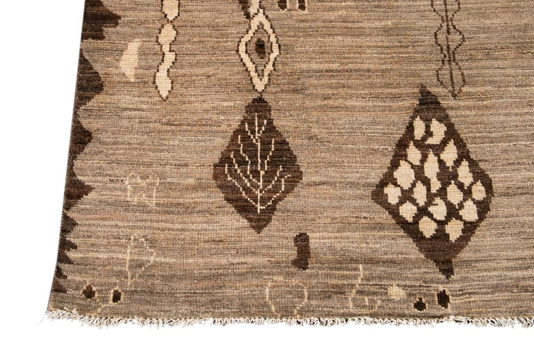 Modern Moroccan-Style Tribal Wool Rug For Sale 9