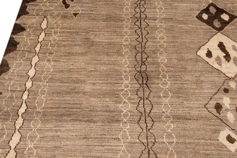 Modern Moroccan-Style Tribal Wool Rug For Sale 10