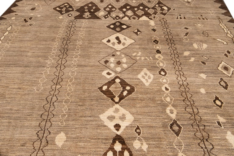 Hand-Knotted Modern Moroccan-Style Tribal Wool Rug For Sale