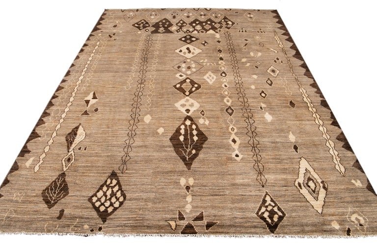 Modern Moroccan-Style Tribal Wool Rug In New Condition For Sale In Norwalk, CT