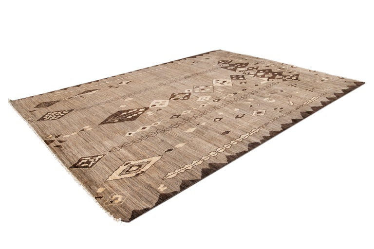 Modern Moroccan-Style Tribal Wool Rug For Sale 3