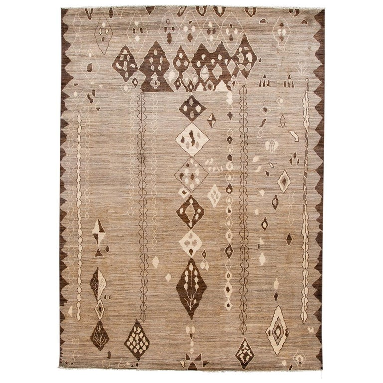 Modern Moroccan-Style Tribal Wool Rug For Sale