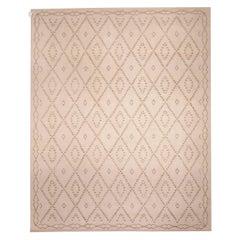 Modern Moroccan Tazo Geometric Beige Handmade Wool Rug