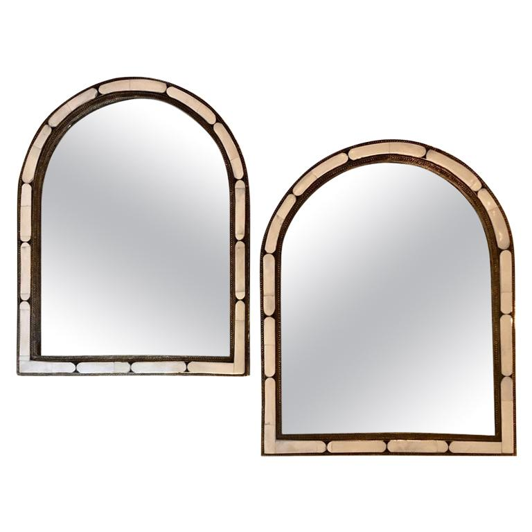 Arched Hollywood Regency White Camel Bone Mirror, a Pair