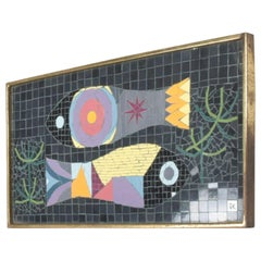"Modern Mosaic Glass Tiles Wall Art Fish signed ""JK"" Jennifer Kuhns"