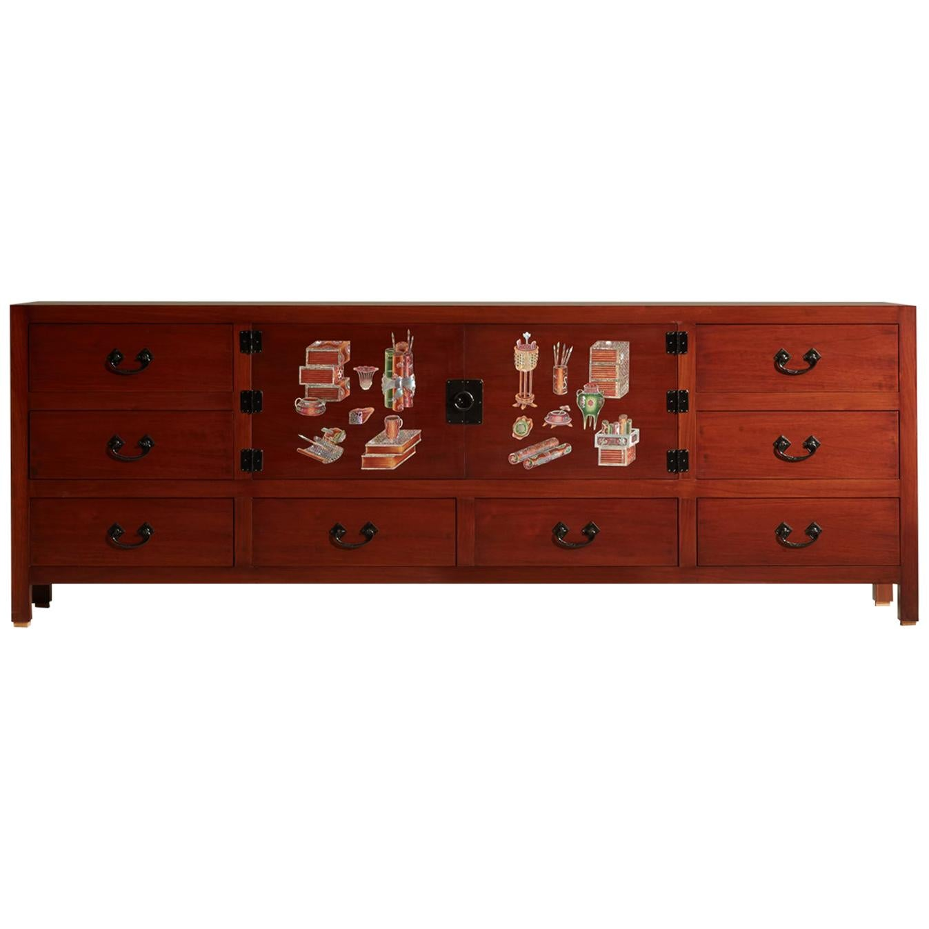 Modern Mother of Pearl Wood Sideboard with Oriental Design by Arijian