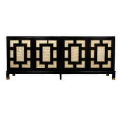 1960s Modern Black Lacquered Credenza
