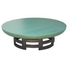 Modern Muller & Barringer for Kittinger Black & Green Round Lotus Coffee Table