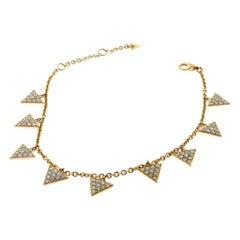 Modern Multi Triangle Totem Brilliant Diamond in 18 Karat Rose Gold Bracelet