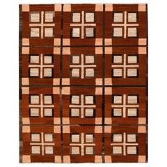 Modern Multicolor Kilim Flatweave Geometric Wool Rug