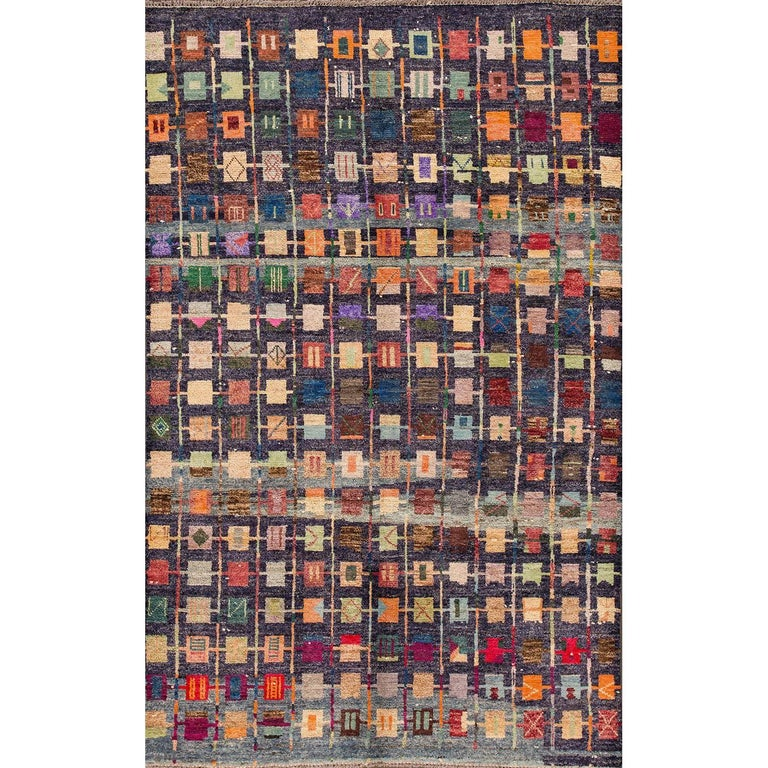 Modern Multicolored Geometric Afghan Gabbeh Rug